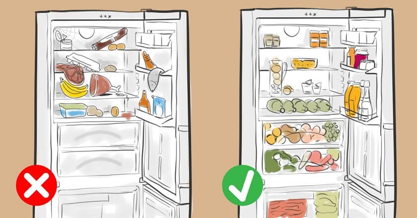 правильное расположение продуктов в холодильнике